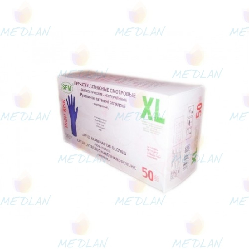 Powder free latex gloves HIGH RISK SFM