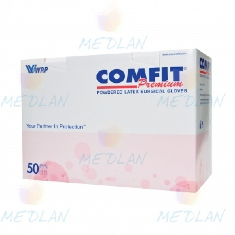 Рукавички хірургічні латексні стерильні з пудрою Comfit Premium