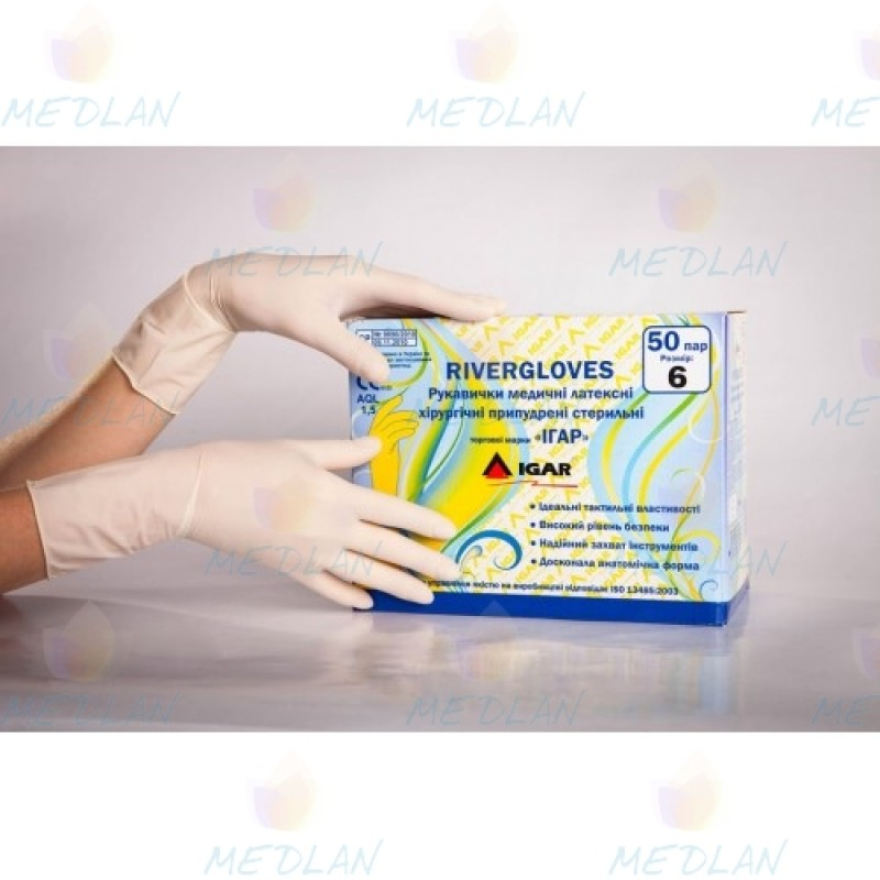 "Latex surgical gloves sr. with powder ""IGAR"""